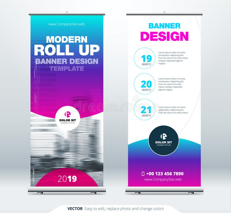Roll Up banner stand presentation concept. Corporate business roll up template background. Vertical template billboard royalty free illustration