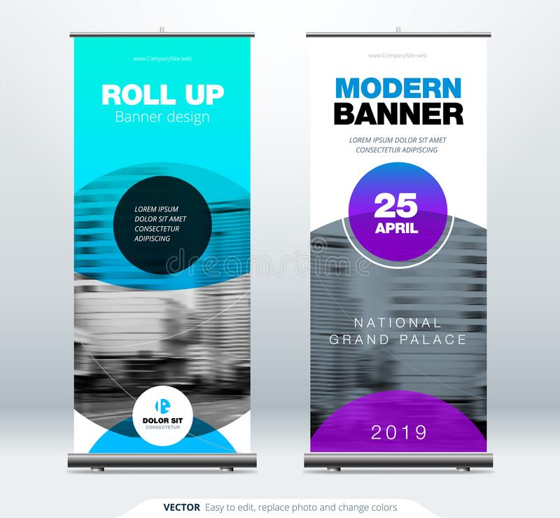 Roll Up banner stand presentation concept. Corporate business roll up template background. Vertical template billboard vector illustration