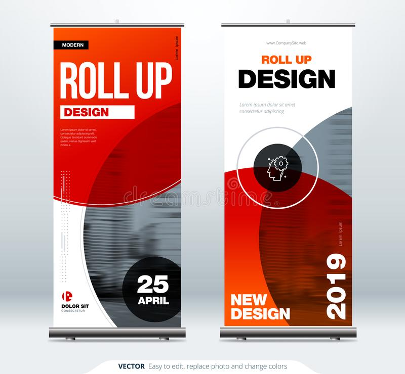 Roll Up banner stand presentation concept. Corporate business roll up template background. Vertical template billboard stock illustration