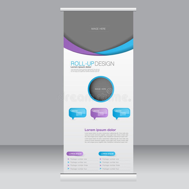 Roll up banner stand template. Abstract background for design, business, education, advertisement. Blue and purple color. Vector. Illustration royalty free illustration