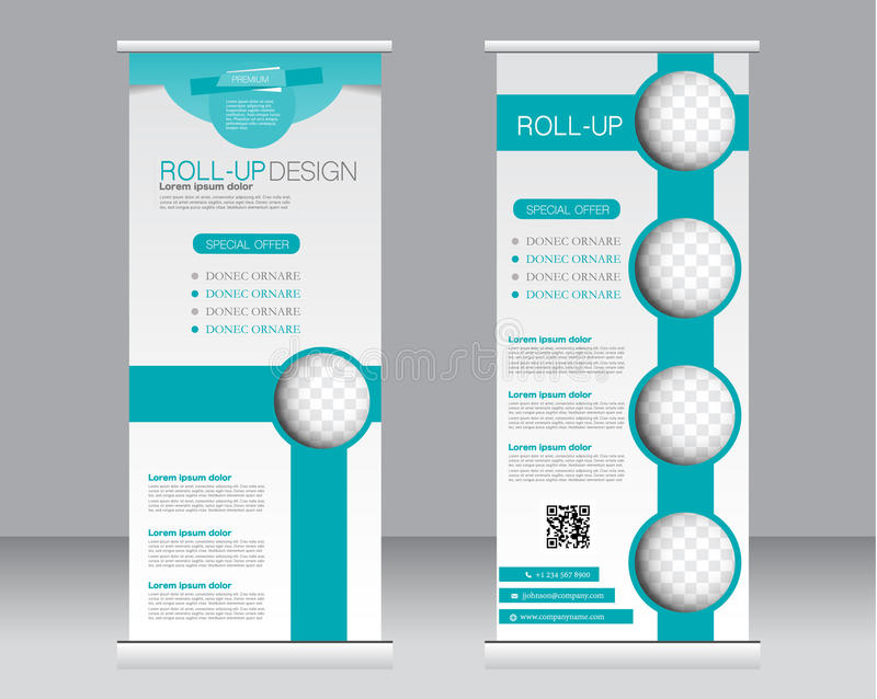 Roll up banner stand template. Abstract background for design, vector illustration