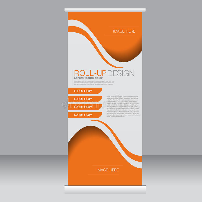 Roll up banner stand template. Abstract background for design, business, education, advertisement. Orange color. Vector illustration royalty free illustration