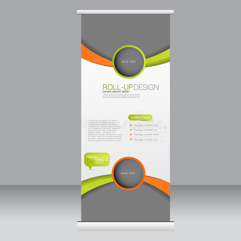 Roll up banner stand template. Abstract background for design, business, education, advertisement. Orange and green color. Vector. Illustration royalty free illustration