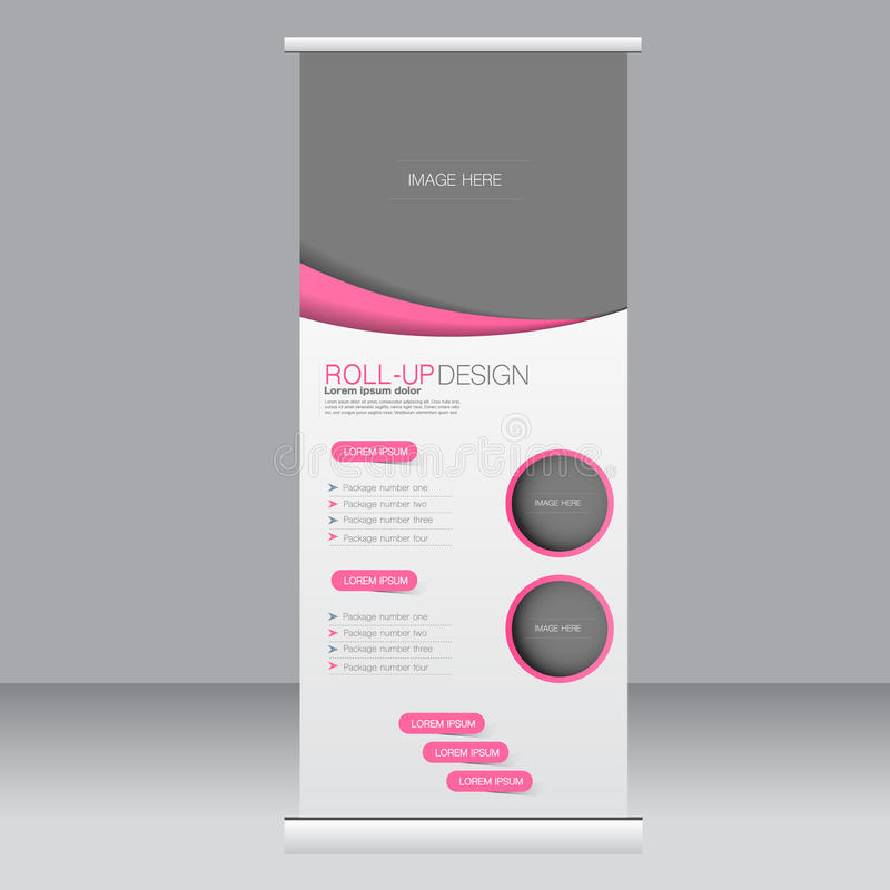 Roll up banner stand template. Abstract background for design, business, education, advertisement. Pink color. Vector illustrati. On royalty free illustration