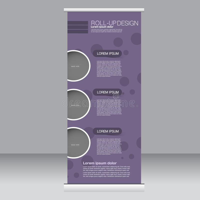 Roll up banner stand template. Abstract background for design, business, education, advertisement. Purple color. Vector illustra. Tion royalty free illustration