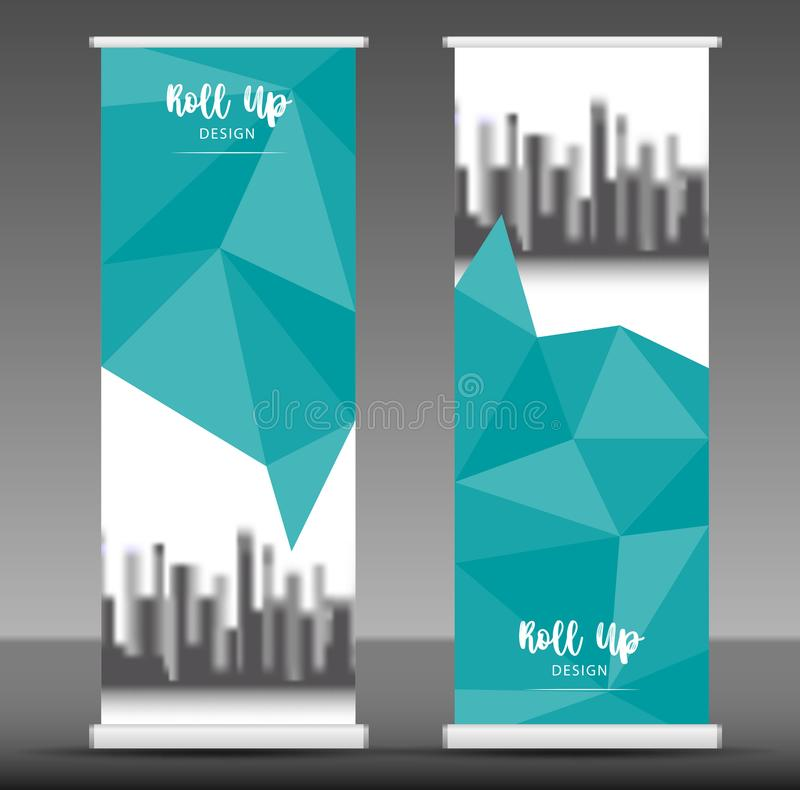 Roll up banner stand template design, blue business flyer, royalty free illustration