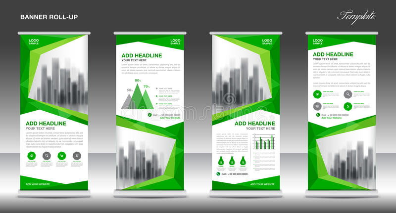 Roll up banner stand template design, Green banner layout, ads. Roll up banner stand template design, Green banner layout, advertisement, polygon background royalty free illustration