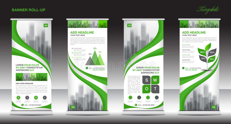 Roll up banner stand template design, Green banner layout, ads. Roll up banner stand template design, Green banner layout, advertisement, stand, polygon royalty free illustration