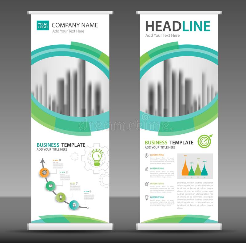 Roll up banner stand template design. Infographics vector, presentation, advetisement, marketing, ads, poster stock illustration