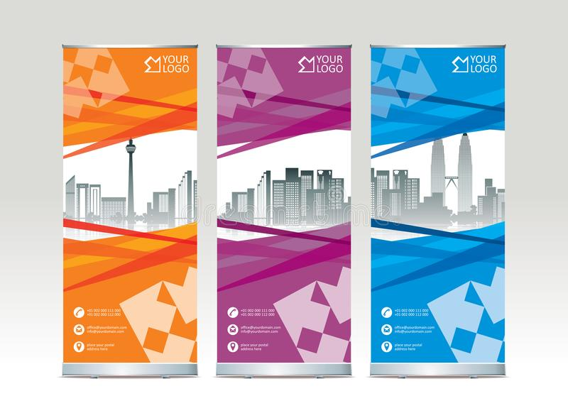Roll up banner stand template design. Vector illustration stock illustration