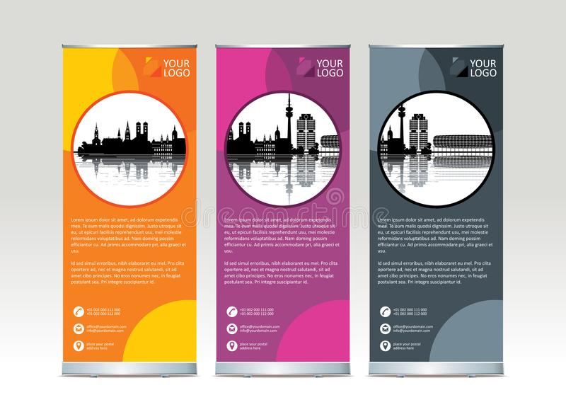 Roll up banner stand template design. Vector illustration royalty free illustration