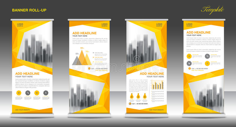 Roll up banner stand template design, Yellow banner layout royalty free illustration