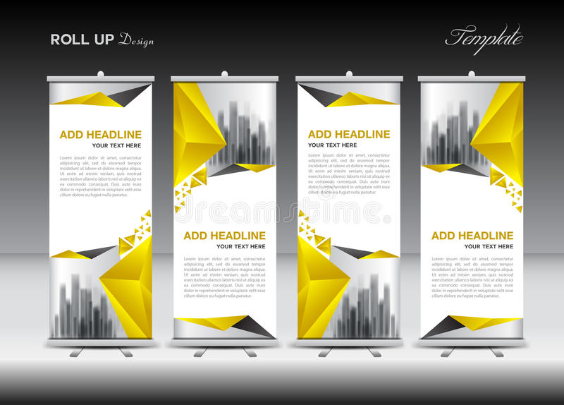 Roll up banner stand template design, Yellow banner layout,. Advertisement, pull up, polygon background, vector illustration, business flyer, display, x-banner stock illustration