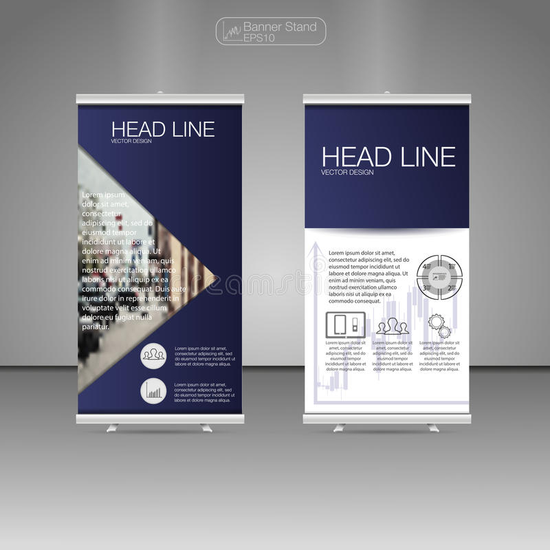 Roll Up Banner Stand, template and info graphics, banner stand design. Vector. stock illustration