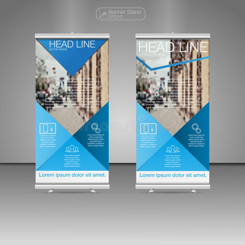 Roll Up Banner Stand, template and info graphics, banner stand design. Vector. royalty free illustration