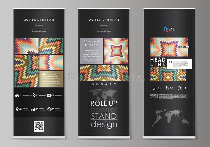 Roll up banner stands, abstract design geometric style templates, corporate vertical vector flyers, flag layouts. Tribal royalty free illustration