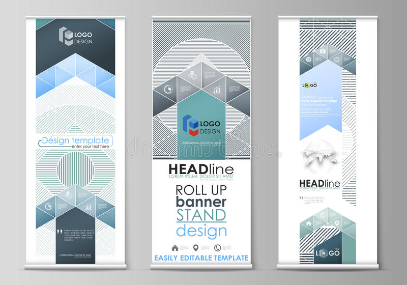 Roll up banner stands, flat design templates, abstract geometric style, corporate vertical vector flyers, flag layouts vector illustration