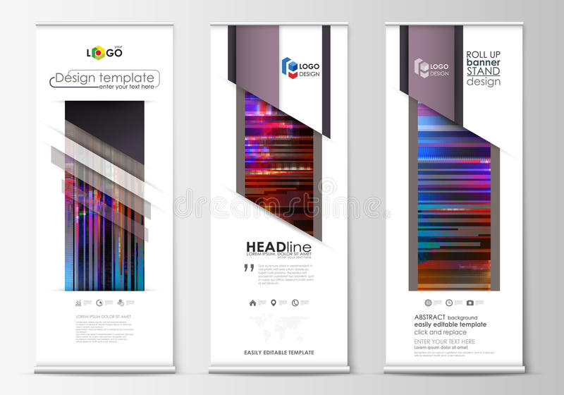 Roll up banner stands, flat design templates, abstract style, modern concept. Set of roll up banner stands, flat design templates, abstract geometric style stock illustration