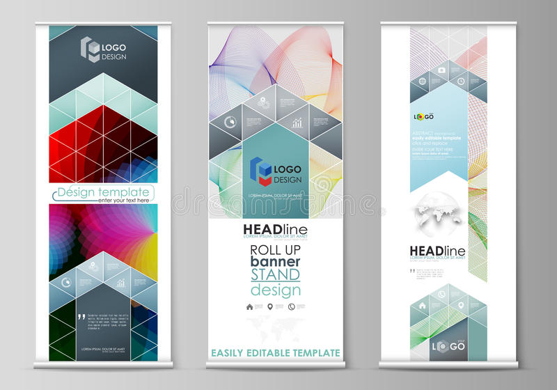 Roll up banner stands, flat style templates, modern business concept, corporate vertical vector flyers, flag layouts royalty free illustration