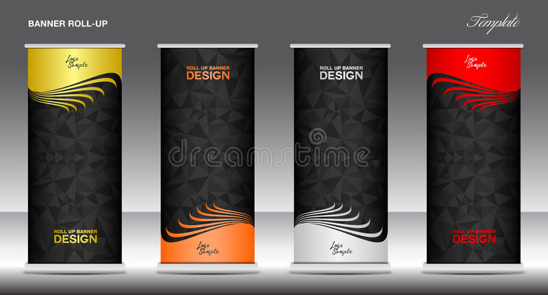 Roll Up Banner template vector illustration, polygon background vector illustration