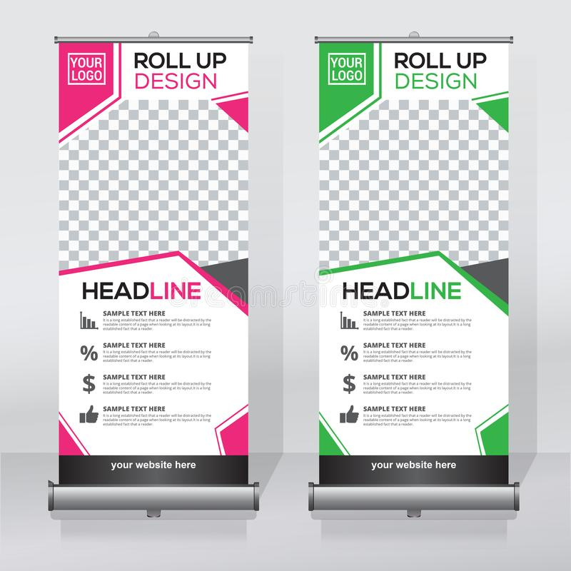 download roll up banner design template vertical abstract background pull up design