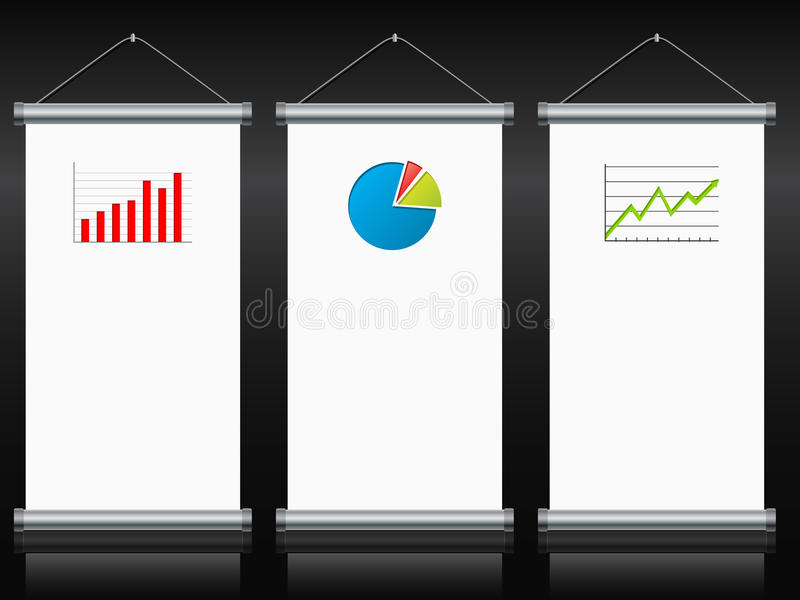 Download Roll Up Banners With Charts And Diagrams Stock Vector - Illustration of board, hang: 34981571