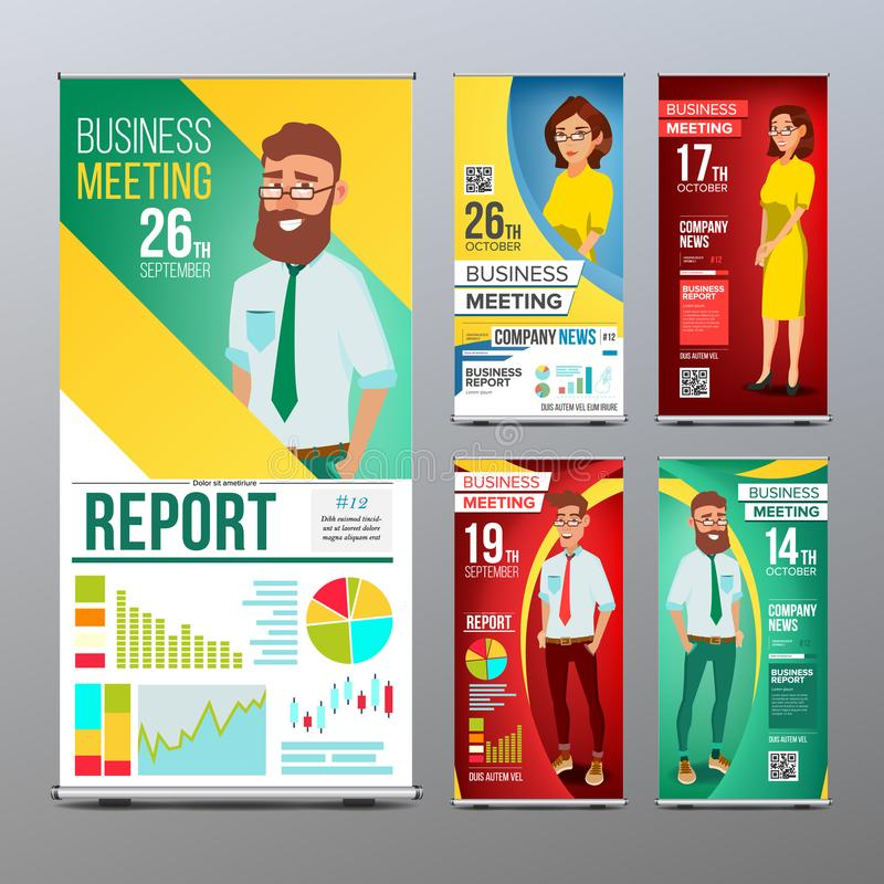 Roll Up Banner Set Vector. Vertical Billboard Template. Businessman And Business Woman. Expo, Presentation, Festival vector illustration