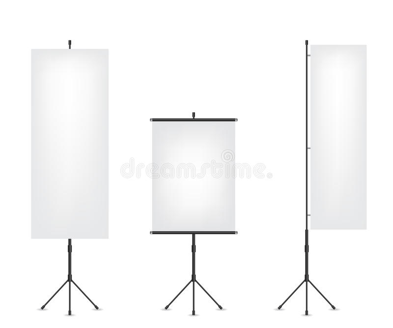 Roll up flag banner and projection screen. Illustration royalty free illustration
