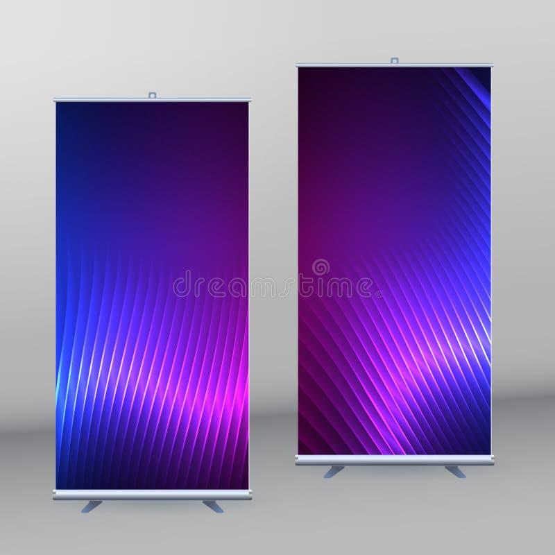 Roll up mockup vertical banner background blue purple neon effect vector illustration