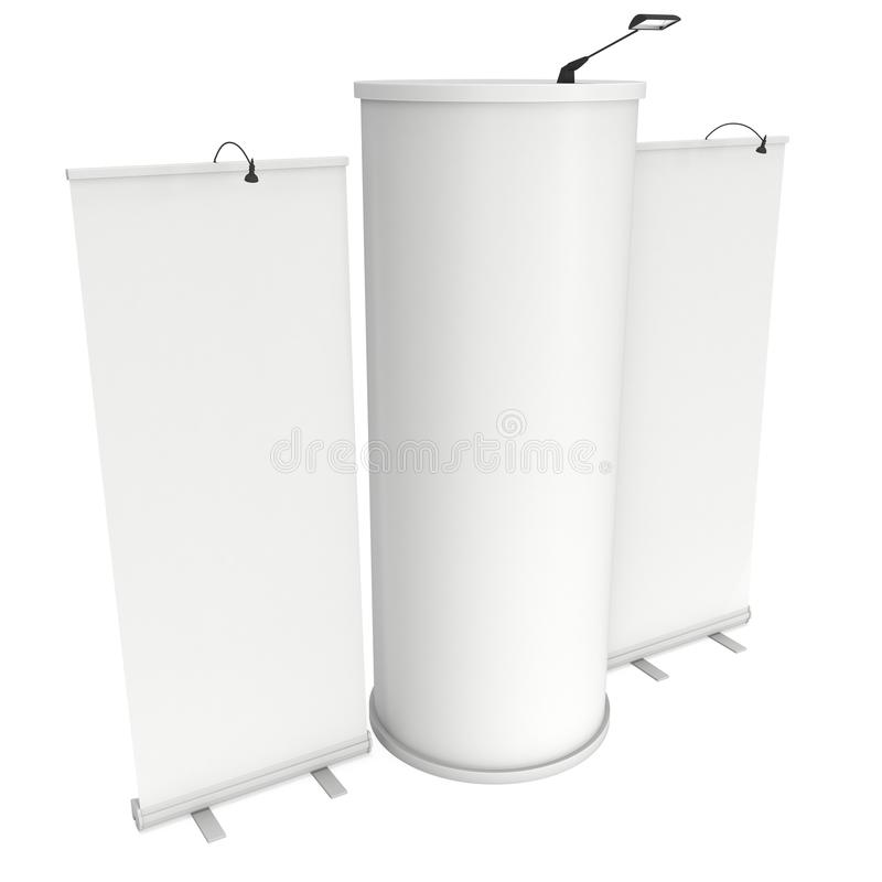 Roll Up and Pop Up Banner Stands. Trade show booth white and blank. 3d render on white background. High Resolution Template for your design stock illustration