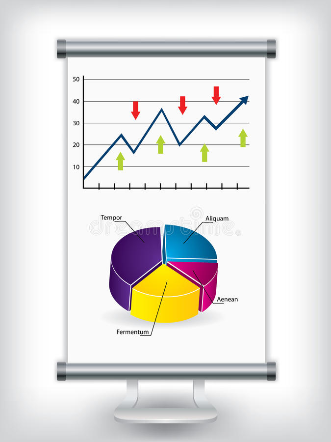 Roll up stand with charts royalty free illustration