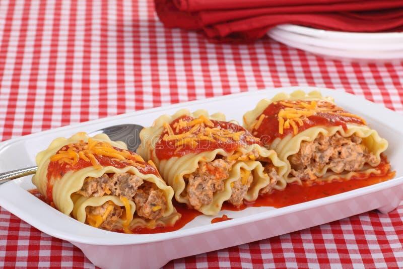 Roll-ups do Lasagna fotografia de stock