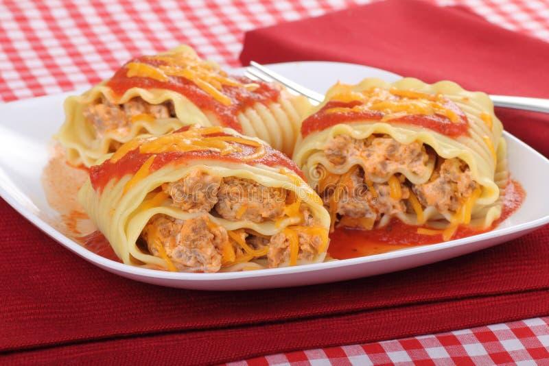 Roll-ups do Lasagna imagens de stock royalty free