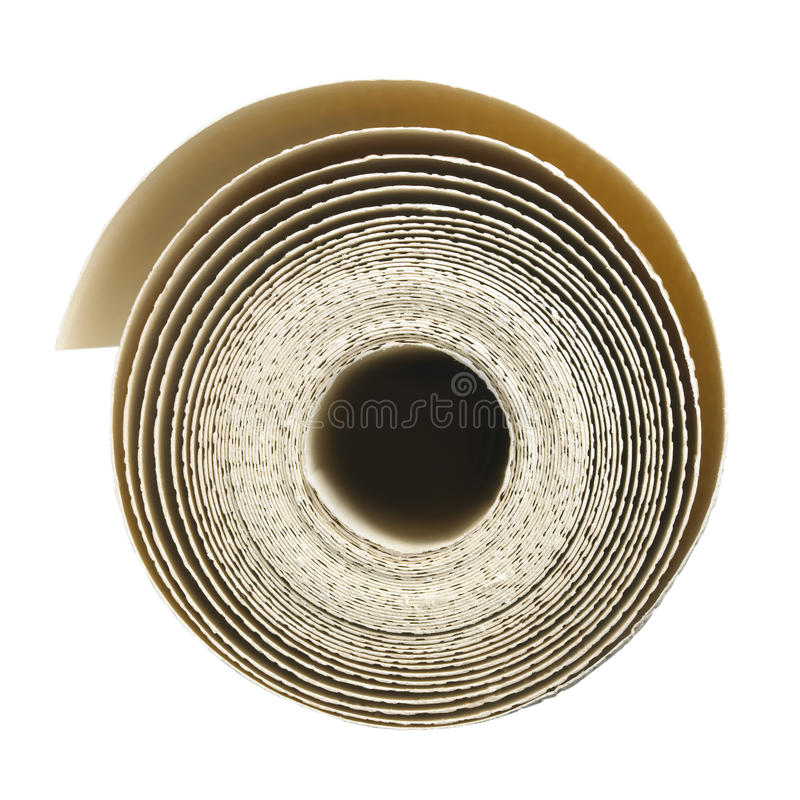 Roll of wallpaper. Roll of decorators wallpaper unrolling royalty free stock image