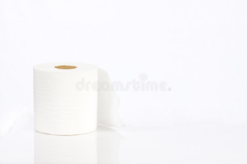 Roll of white toilet paper stock photography