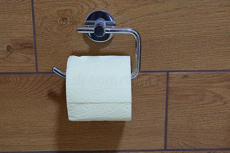 Roll of white toilet paper on a holder in the bathroom. Place for text royalty free stock photography