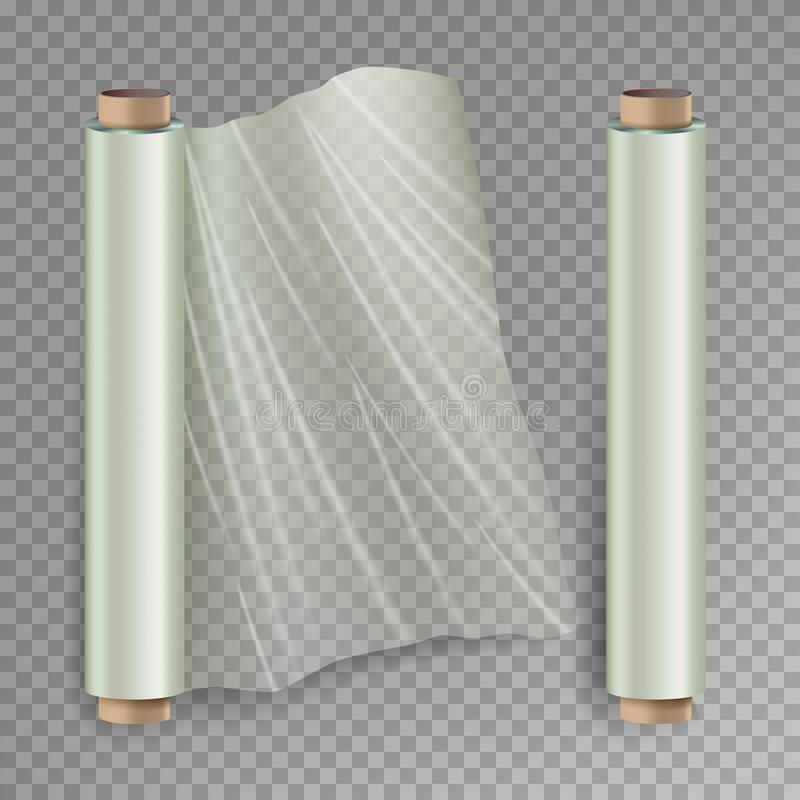 Roll Of Wrapping Stretch Film Vector. Opened And Closed Polymer Packaging. Cellophane, Plastic Wrap. On stock illustration