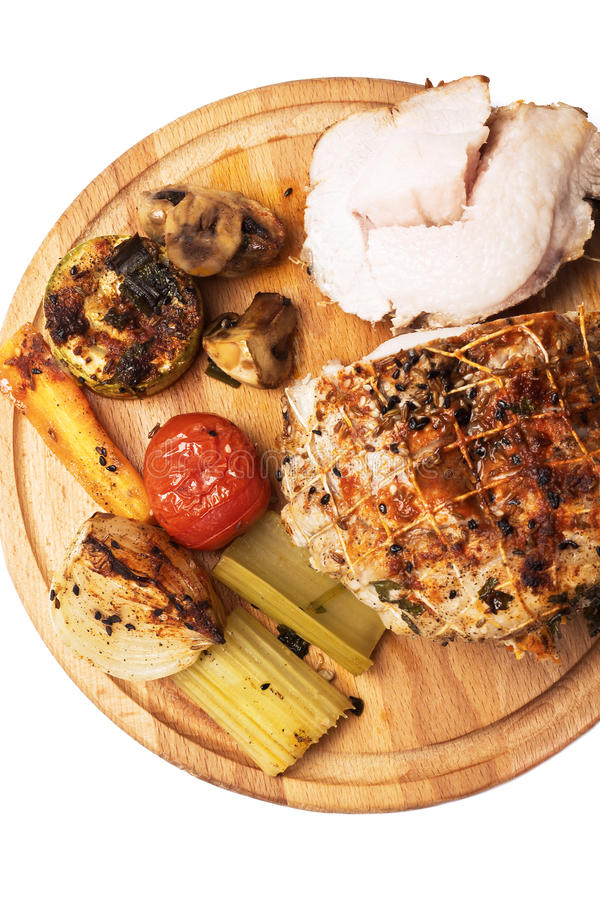 Rollade met vlees met groenten en kruiden royalty-vrije stock foto's
