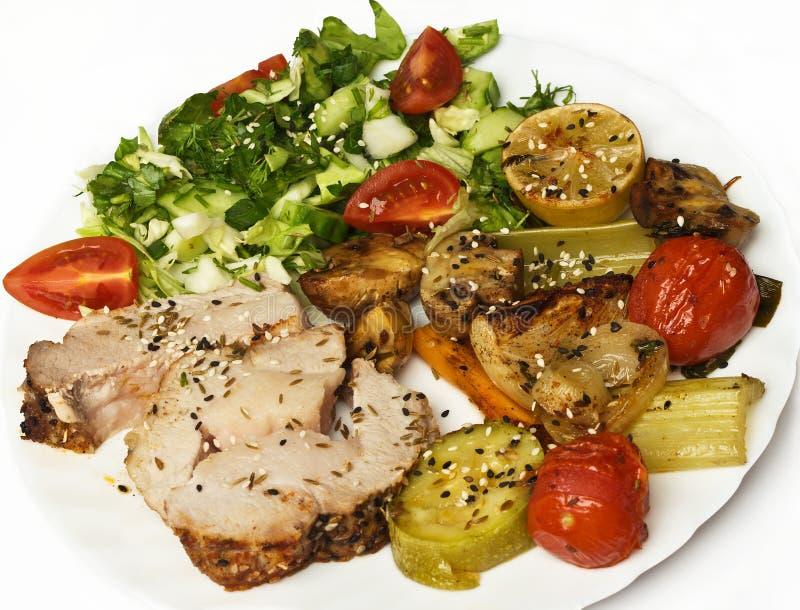 Rollade met vlees met groenten en kruiden royalty-vrije stock foto