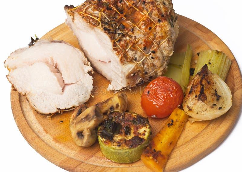 Rollade met vlees met groenten en kruiden royalty-vrije stock afbeelding