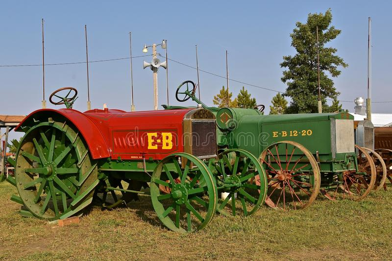 Two Emerson-Brantingham tractors. ROLLAG, MINNESOTA, Sept 3. 2017: A collection of various tractors models and farm equipment are ready for demonstrations at the royalty free stock photo