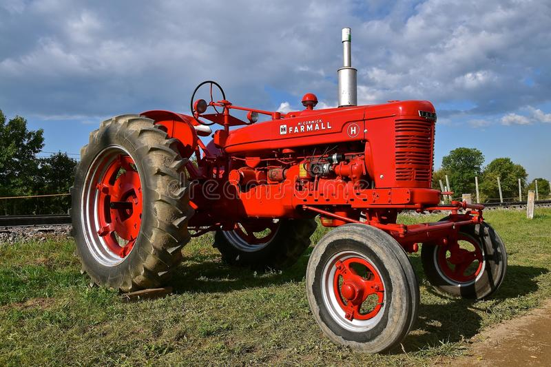 Restored Farmall H wide front tractor. ROLLAG, MINNESOTA, Sept 3, 2017: The Farmall H tractor is displayed at the annual WCSTR farm show in Rollag held each stock image