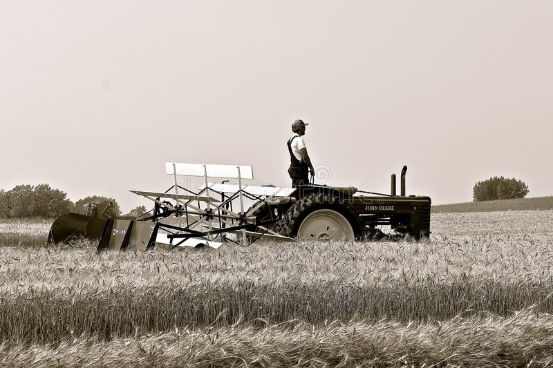 John Deere B tractor and a McCormick swather. ROLLAG, MINNESOTA, Sept 2, 2017: An unidentified operator of a B John Deere tractor is demonstrating with a royalty free stock photo