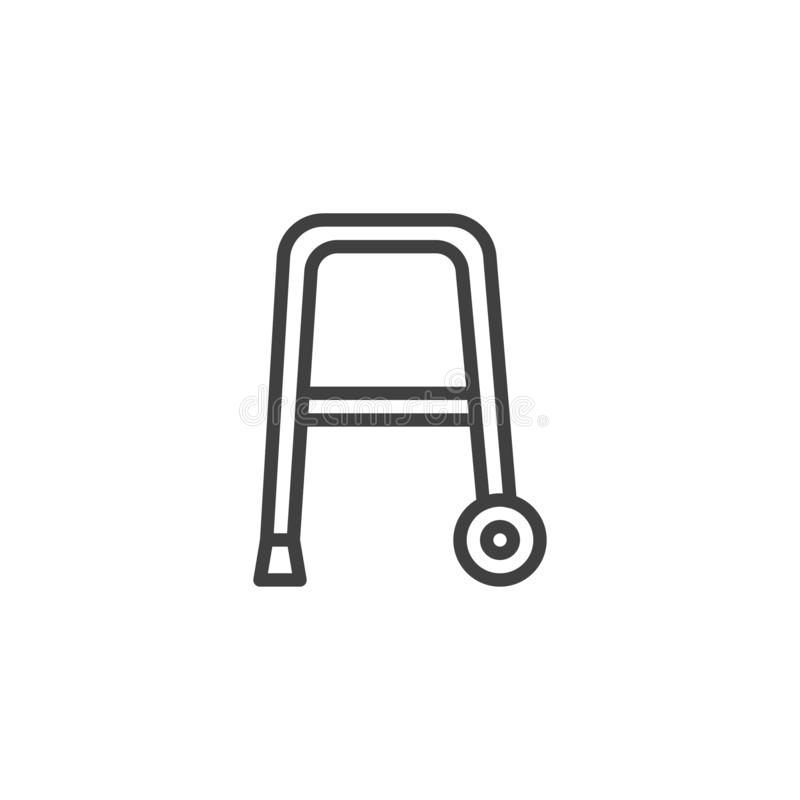 Rollator walker line icon. Linear style sign for mobile concept and web design. Walker with wheels outline vector icon. Symbol, logo illustration. Vector vector illustration