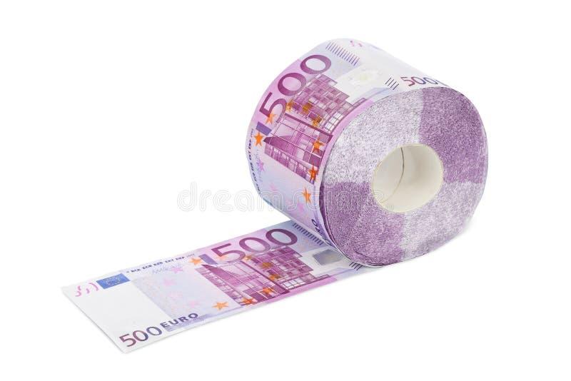 Rolle des Eurotoilettenpapiers stockbilder