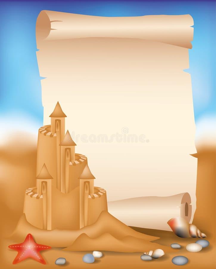 Rolle des leeren Papiers auf Sommerstrandhintergrund stock abbildung
