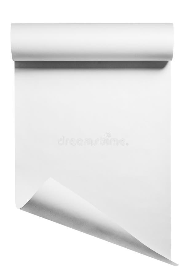 Rolle des leeren Weißbuches, lokalisiert stockfoto