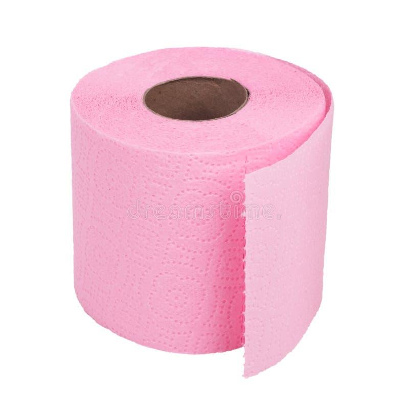 Rolle des rosa Toilettenpapiers auf weißem Hintergrund lizenzfreie stockbilder