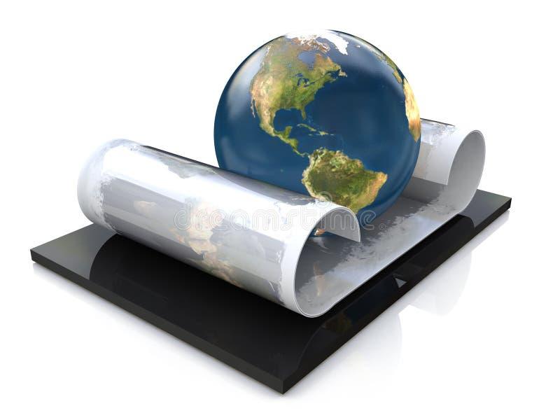Rolle und Planet lizenzfreie abbildung