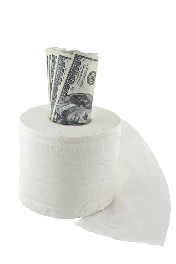 Rolle von hundert Dollar in einem Toilettenpapier stockfoto